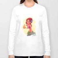 hawaiian Long Sleeve T-shirts featuring hawaiian girl by Melissa Ballesteros Parada