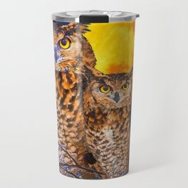 TWO OWLS IN FULL MOONSCAPE NIGHT Travel Mug