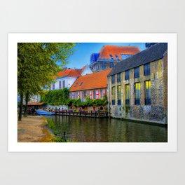 Brugge Canal Flats  Art Print