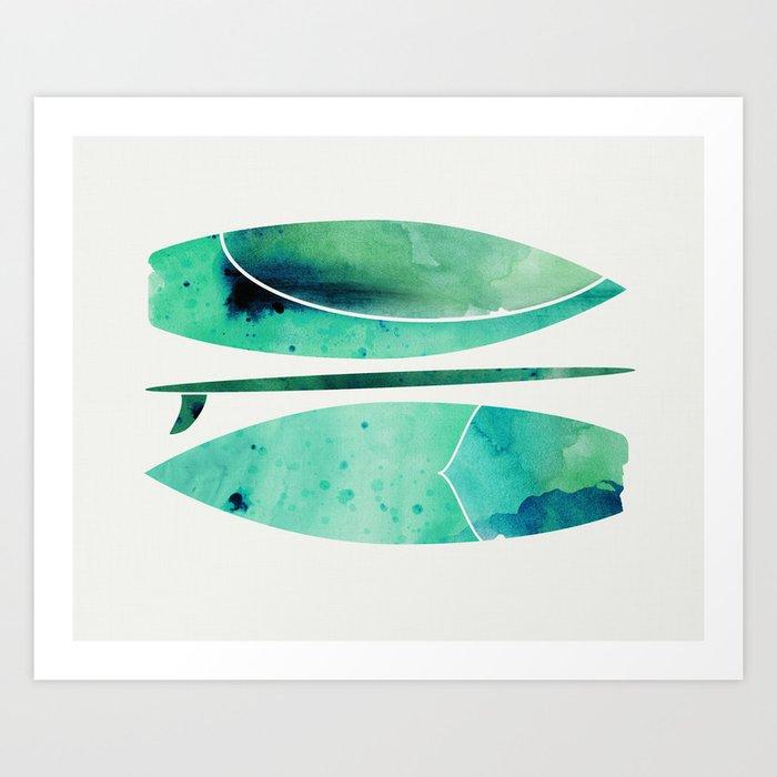 Watercolor Surfboards Art Print