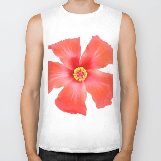 Tropical Hibiscus Flower Vector Biker Tank