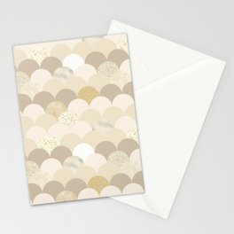 Blush brown ivory faux gold glitter scallop pattern Stationery Cards