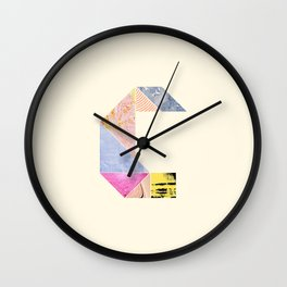 Collaged Tangram Alphabet - C Wall Clock