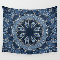 Geometric Blue Mandala Wall Tapestry