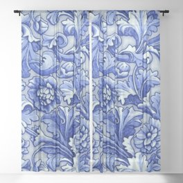 Blue and White Porcelain Sheer Curtain