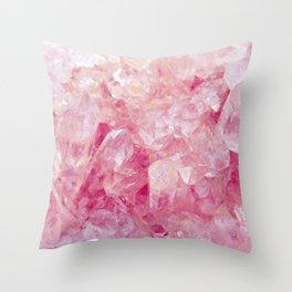 Pink Rose Quartz Crystals Throw Pillow
