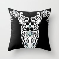 warrior Throw Pillows featuring Warrior by Boz Designs