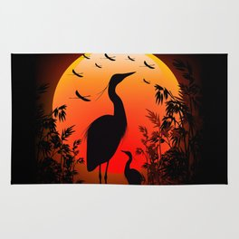 Heron Shape on Sunset Rug