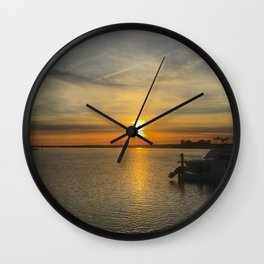 Sunset Over Bay Wall Clock