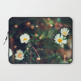 Camomile meadow nature background. Soft focus. Laptop Sleeve