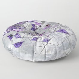 Abstract Geometric Amethyst and Mother of pearl Floor Pillow