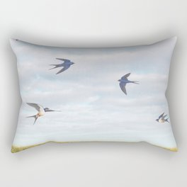 barn swallows, day lilies, and chicory Rectangular Pillow
