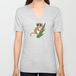 pattern - lemur on green branch on blue background Unisex V-Neck