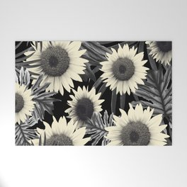 Tropical Sunflower Jungle Night Leaves Pattern #2 #tropical #decor #art #society6 Welcome Mat