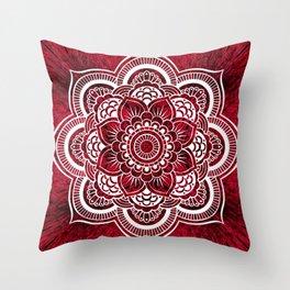 Mandala Red Colorburst Throw Pillow