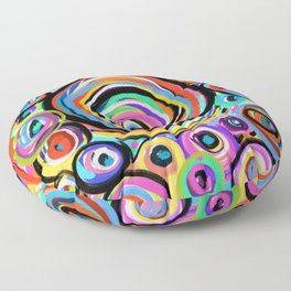 Rings of Color, Water Drop Patterns, Colorful Raindrops Floor Pillow