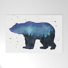 Forest Bear Silhouette Watercolor Galaxy Welcome Mat