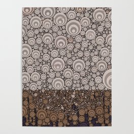 Groovy Brown Taupe Grey Circular Abstract Poster