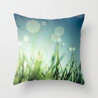 grass Throw Pillows featuring Grass  by Koka Koala