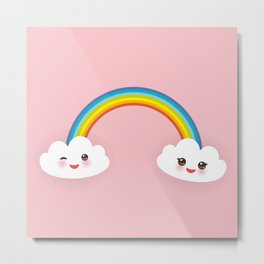 Kawaii funny white clouds, muzzle with pink cheeks and winking eyes, rainbow on light pink Metal Print