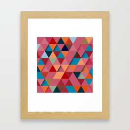 Colorfull abstract darker triangle pattern Framed Art Print
