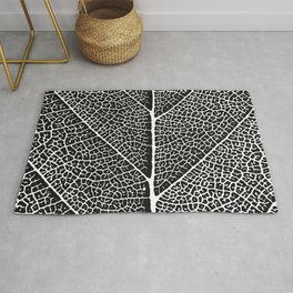 Modern abstract black white tree leave texture Rug