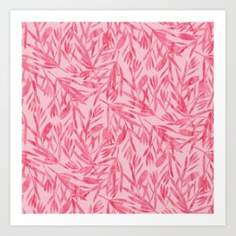 Abstract Pink Leaves Art Print