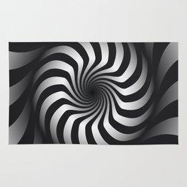 Black and White Hypnotic Swirl Rug