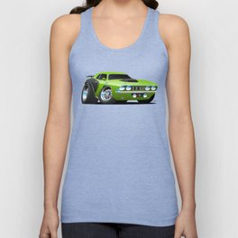 Classic Seventies Style American Muscle Car Cartoon Unisex Tank Top
