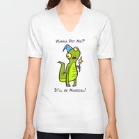 wizard V-neck T-shirts featuring Wizard Lizard by Artistic Dyslexia