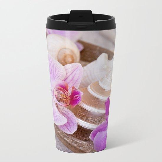 Pink Orchid and Sea Shell Maritime Still Life Metal Travel Mug