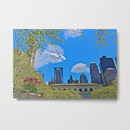 Skyline from Bryant Park, NYC Metal Print
