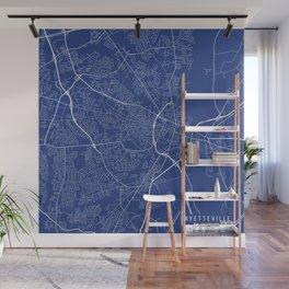 Fayetteville Map, USA - Blue Wall Mural