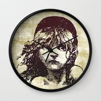 les miserables Wall Clocks featuring Les Miserables Girl by Pop Atelier