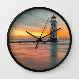 Talacre Lighthouse Sunset Wales Wall Clock