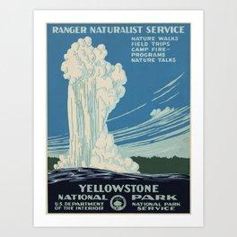 Vintage poster - Yellowstone Art Print