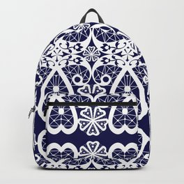 Retro . Lace blue white pattern . White lace on blue background . Backpack
