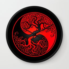 Red and Black Tree of Life Yin Yang Wall Clock