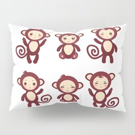 Set of funny brown monkey boys and girls on white background. Vector illustration Pillow Sham