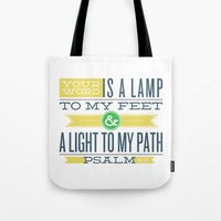 bible verses Tote Bags featuring Psalm 119:105 Bible Verses by Tony D'Amico