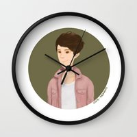 tegan and sara Wall Clocks featuring Tegan and Sara: Tegan portrait #4 by Cas.