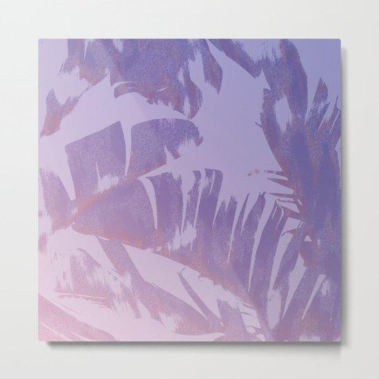 Tropical Sunset Banana Leaves Design Metal Print