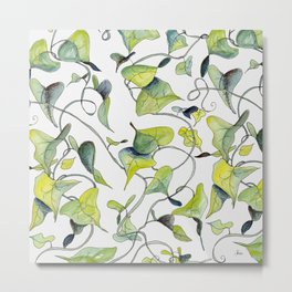 Blue and Green Vines, Pattern Metal Print