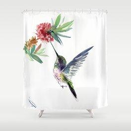 Hummingbird. elegant bird and flowers, minimalist bird art beautiful bird painting Shower Curtain