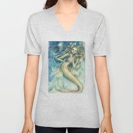 mermaid with Flowers in her hair Unisex V-Neck