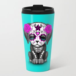 Cute Purple and Blue Day of the Dead Puppy Dog Travel Mug