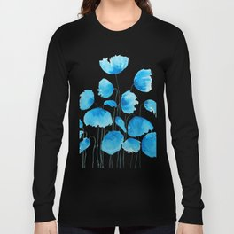 blue poppy field watercolor Long Sleeve T-shirt