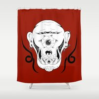 cyclops Shower Curtains featuring Cyclops by Jorge Daszkal