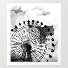 Black and White Ferris Wheel Vertical Art Print