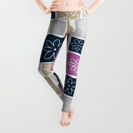 Doodle Squares with Flowers Purple, Lime green, Beige, Navy blue Leggings
